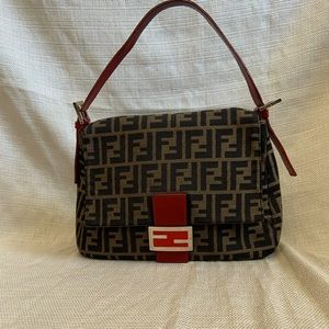 Fendi mama baguette bag in canvas w/ red leather